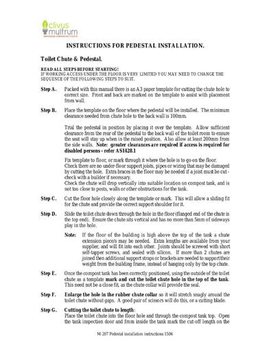 Clivus Multrum - Pedestal installation Manual