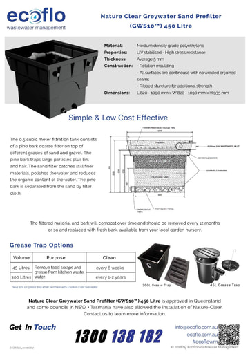 Nature Clear Greywater Sand Prefilter 450 Litre Brochure