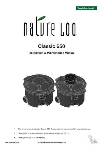 IMNL-009-05.05.2020 Nature Loo Classic 650 MANUAL