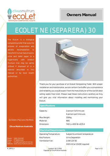 EcoLet NE Separera 30 On Floor User Manual