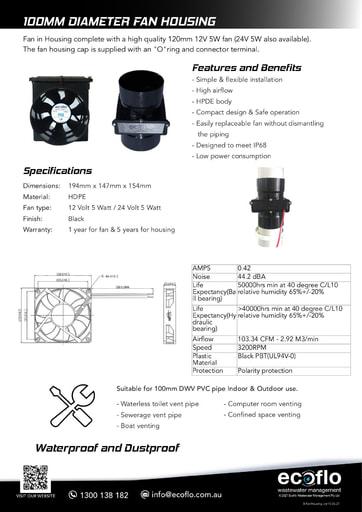 100mm Diameter Fan Housing + 12V/24V Fan
