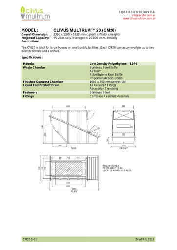 CM20 Specifications
